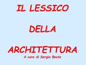 1-Il lessico dell'architettura