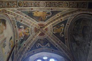 019-volta della cappella di San Biagio, con raffigurati i simboli dei 4 evangelisti: dal basso verso destra: aquila (Giovanni), leone (Marco), bue (Matteo), Angelo/uomo (Luca)