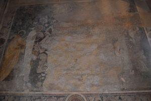 028-Morte della Vergine: la rimozione del colore ha portato alla luce la sinopia, cioè il disegno preparatorio dell'affresco