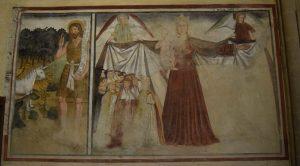 142-la Madonna della misericordia che accoglie il clero sotto il manto (a destra c'era il laicato); a sinistra San Giovanni predica agli animali