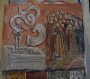 144-la predica dei morti. E' l'affresco più antico (XIV sec)