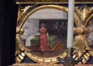 112-otto scene alla base del polittico: la nascita di maria